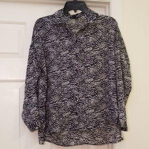 Topshop Navy Blue Blouse w/ White Design Size 2